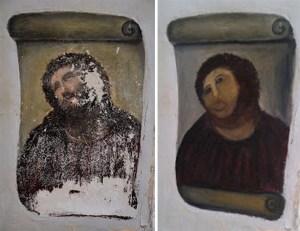 """Antes y después de la restauración del """"Ecce Homo"""" de Elias García Martínez"""